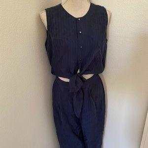 Club Monaco Blue Silk Jumpsuit Size 6